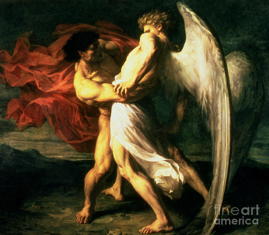 Jacob Wrestling With The Angel Painting - Jacob Wrestling With The Angel, 1865  by Alexandre Louis Leloir