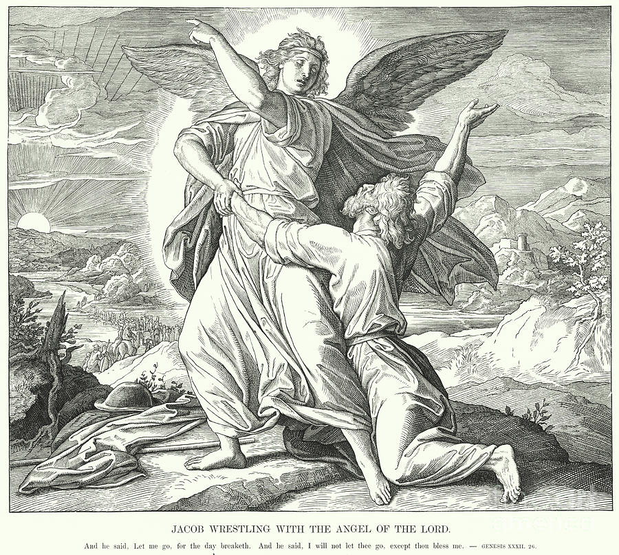Scripture Drawing - Jacob Wrestling With The Angel Of The Lord  by Julius Schnorr von Carolsfeld