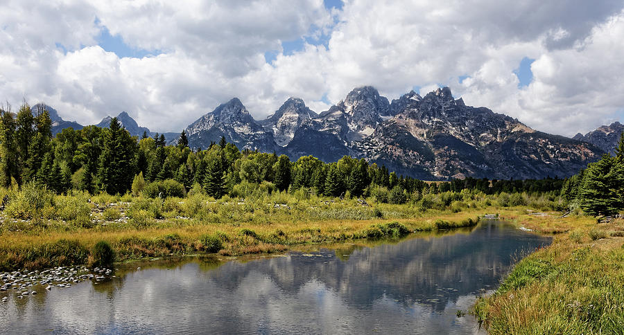 Jagged -- Teton Range from Schwabacher Landing Grand Teton National Park, Wyoming by Darin Volpe