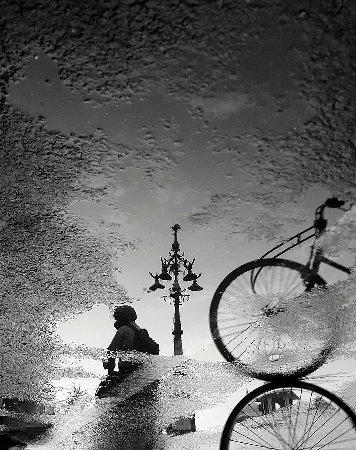 Jaipur Street Scene in Water Reflections by Prakash Ghai