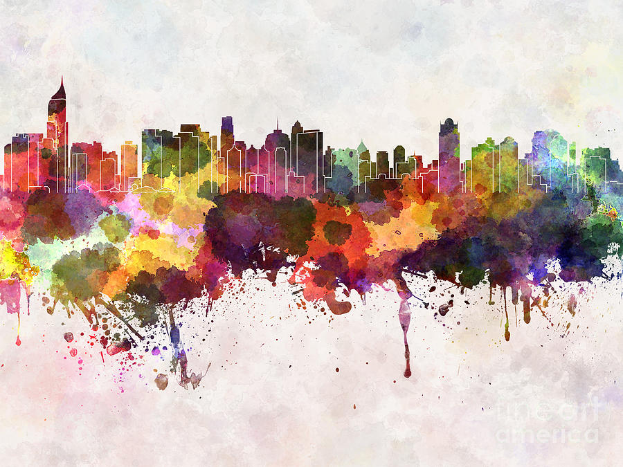 Color Digital Art - Jakarta Skyline In Watercolor Background by Cristina Romero Palma