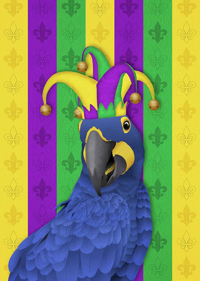 Jake the Jester - Mardi Gras Macaw by Debi Dalio
