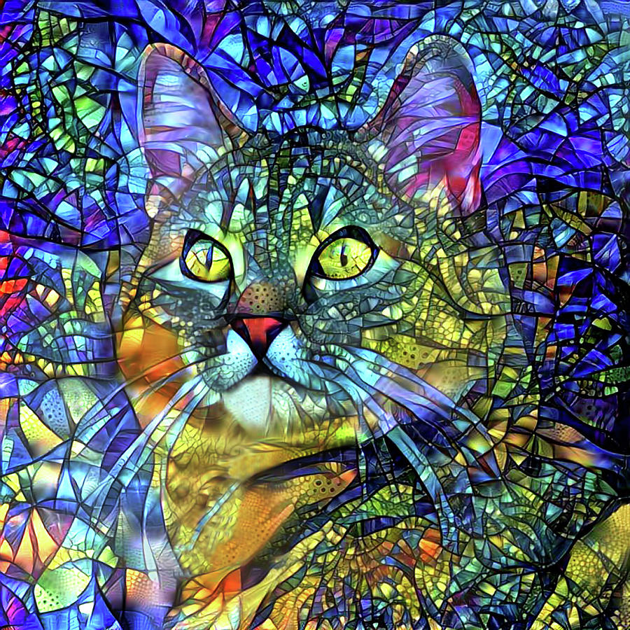 Jake the Tabby Cat Stained Glass by Peggy Collins