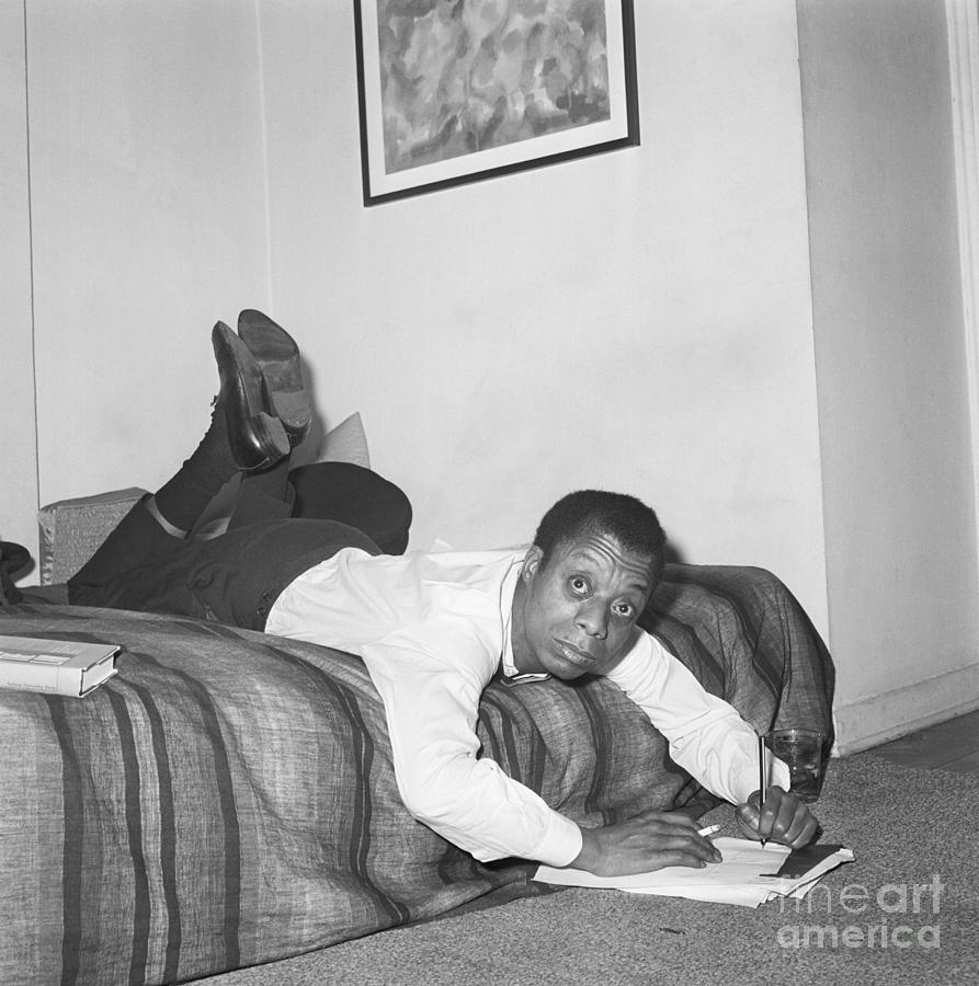 James Baldwin Gets Comfortable To Write Photograph by Bettmann