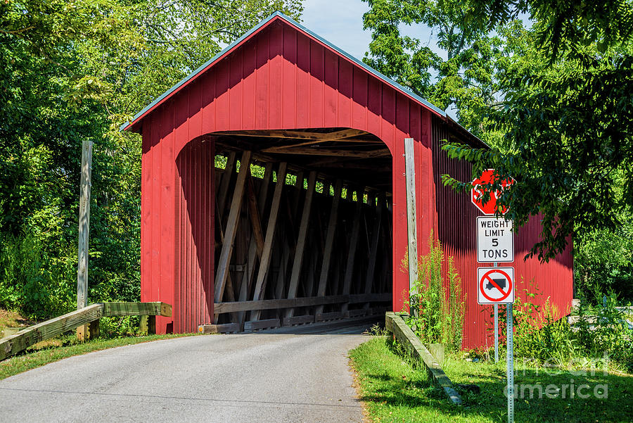 James Covered Bridge - Commiskey - Indiana by Gary Whitton