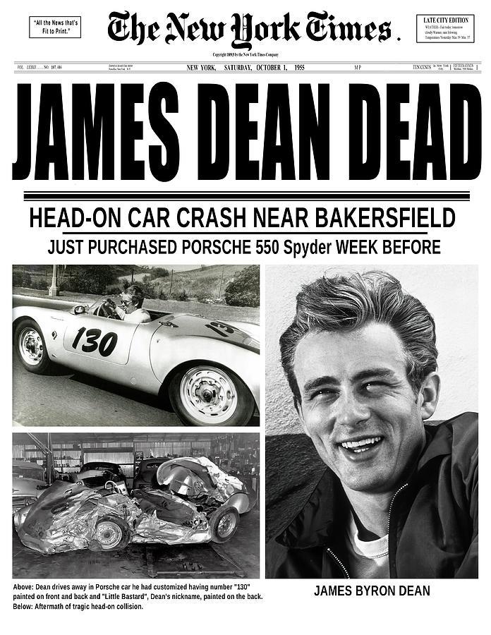 James Dean Digital Art - James Dean Killed Headline - New York Times 1955 by Daniel Hagerman