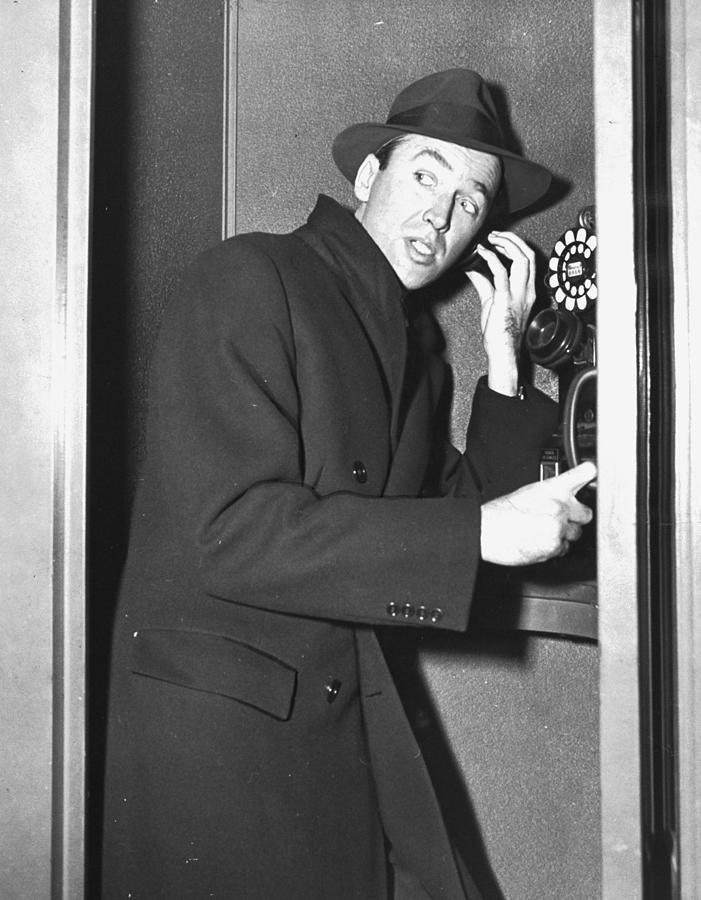 James Stewart Stops To Make A Call At Photograph by New York Daily News Archive