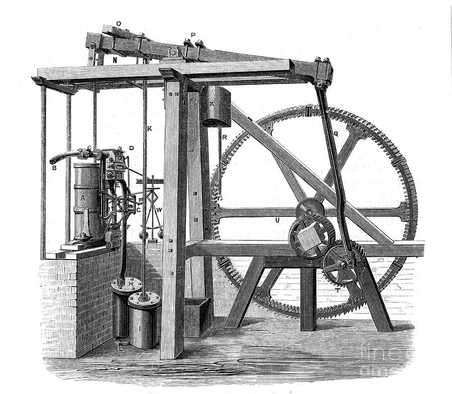 James Watts Prototype Steam Engine Old Drawing by Print Collector