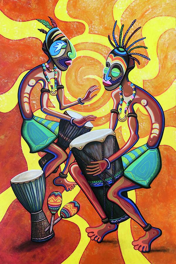 Djembe Painting - Jammin Djembes by Jennifer Allison