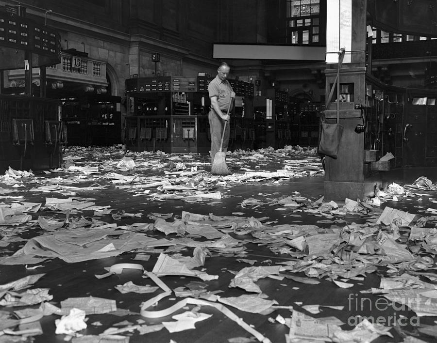 Janitor Sweeping Floor Of The New York Photograph by Bettmann
