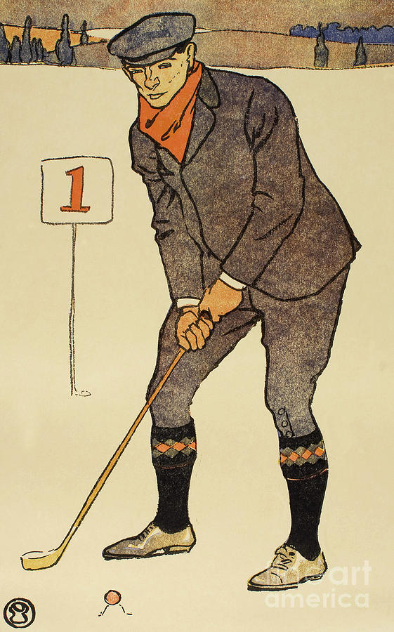 January, detail from 1931 Golfing Calendar by Edward Penfield