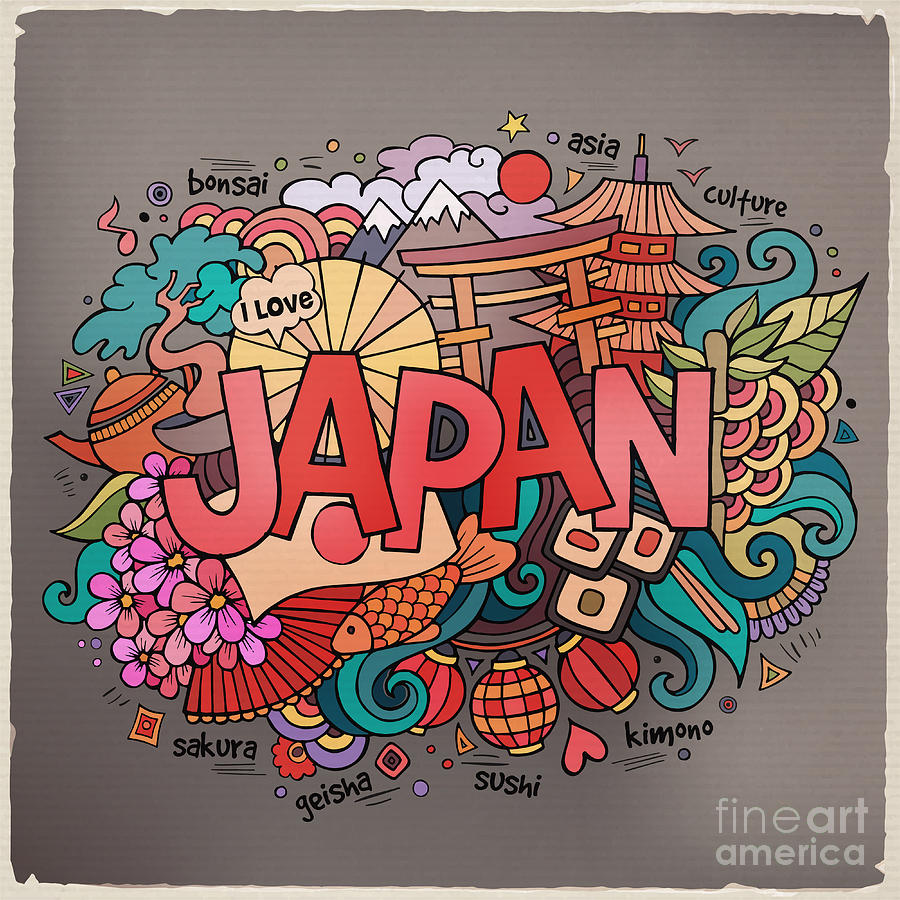 Country Digital Art - Japan Hand Lettering And Doodles by Balabolka