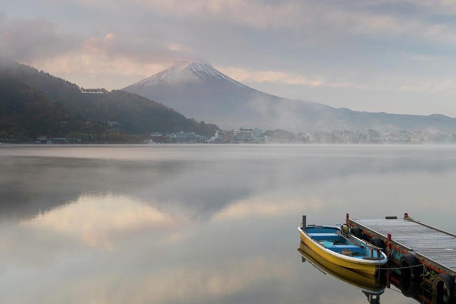 Japan, Lake Kawaguchi, Mount Fuji In Photograph by Peter Adams