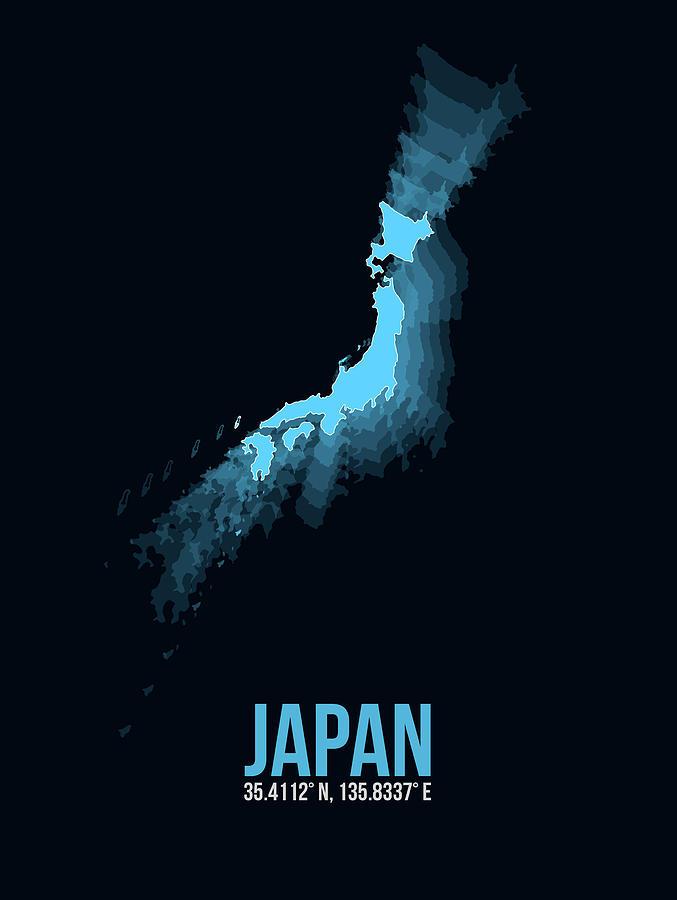 Map Of Japan Digital Art - Japan Radiant Map 3 by Naxart Studio