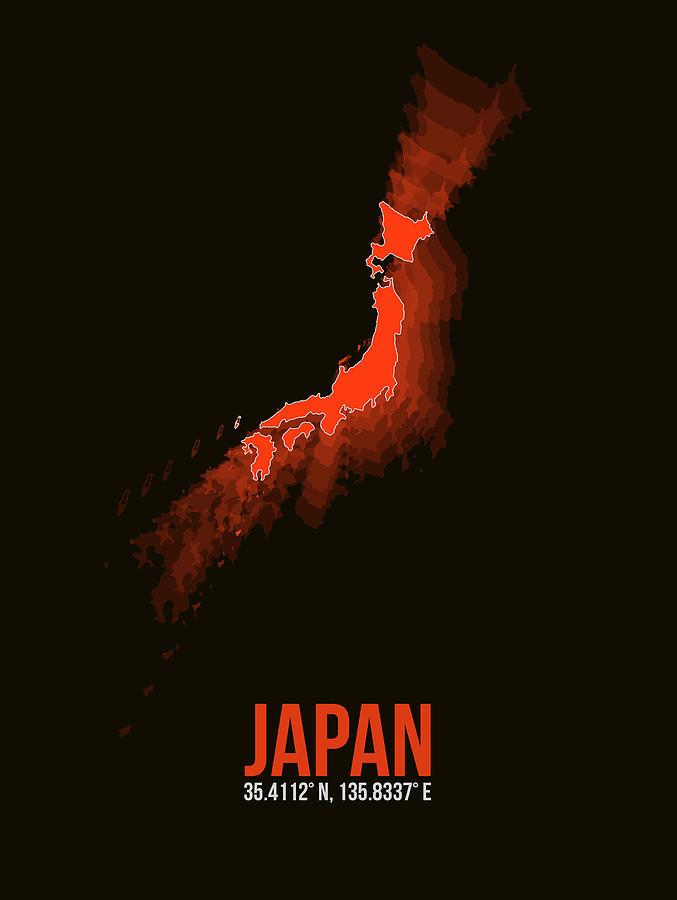 Map Of Japan Digital Art - Japan Radiant Map I by Naxart Studio