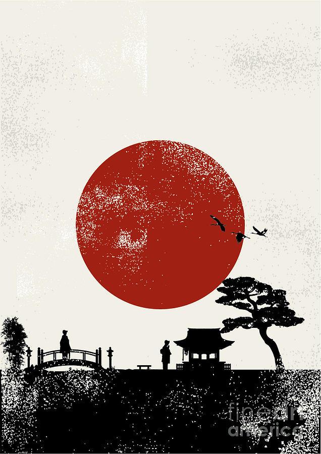 Symbol Digital Art - Japan Scenery Poster Vector by Seita