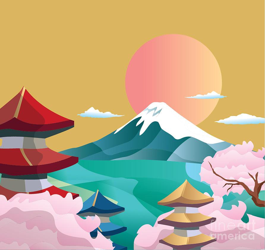 Symbol Digital Art - Japan Style Buildings And Fuji Mountain by Takiwa