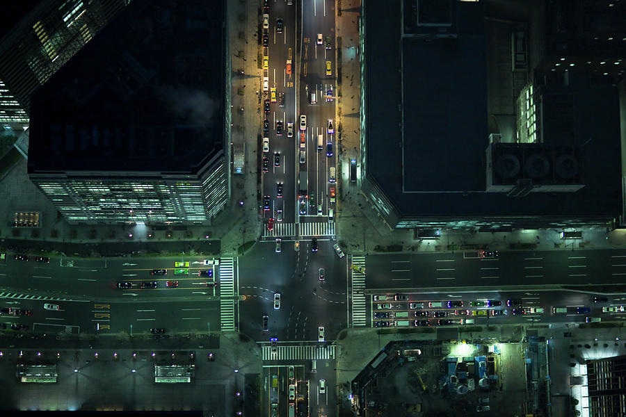 Japan, Tokyo, Aerial View Of Traffic Photograph by Michael H