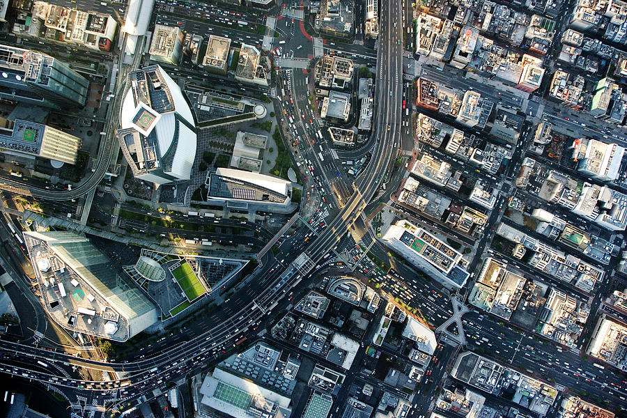 Japan, Tokyo, Shiodome, Aerial View Photograph by Flashfilm