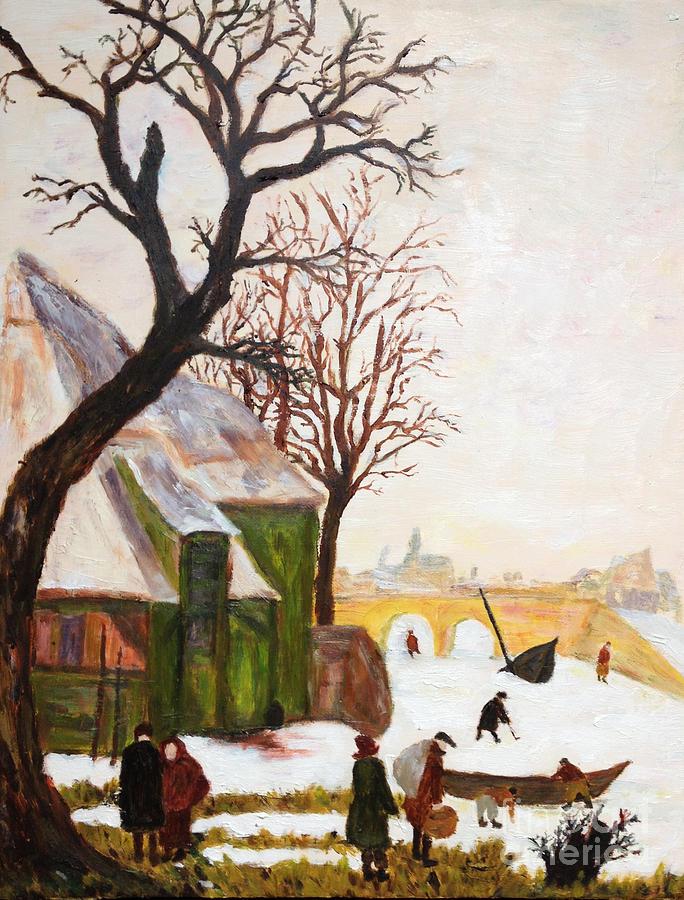 Japanese Artist Painting - Japanese artist and a delightful Dutch winter landscape based on Hendrick Avercamp by Sawako Utsumi
