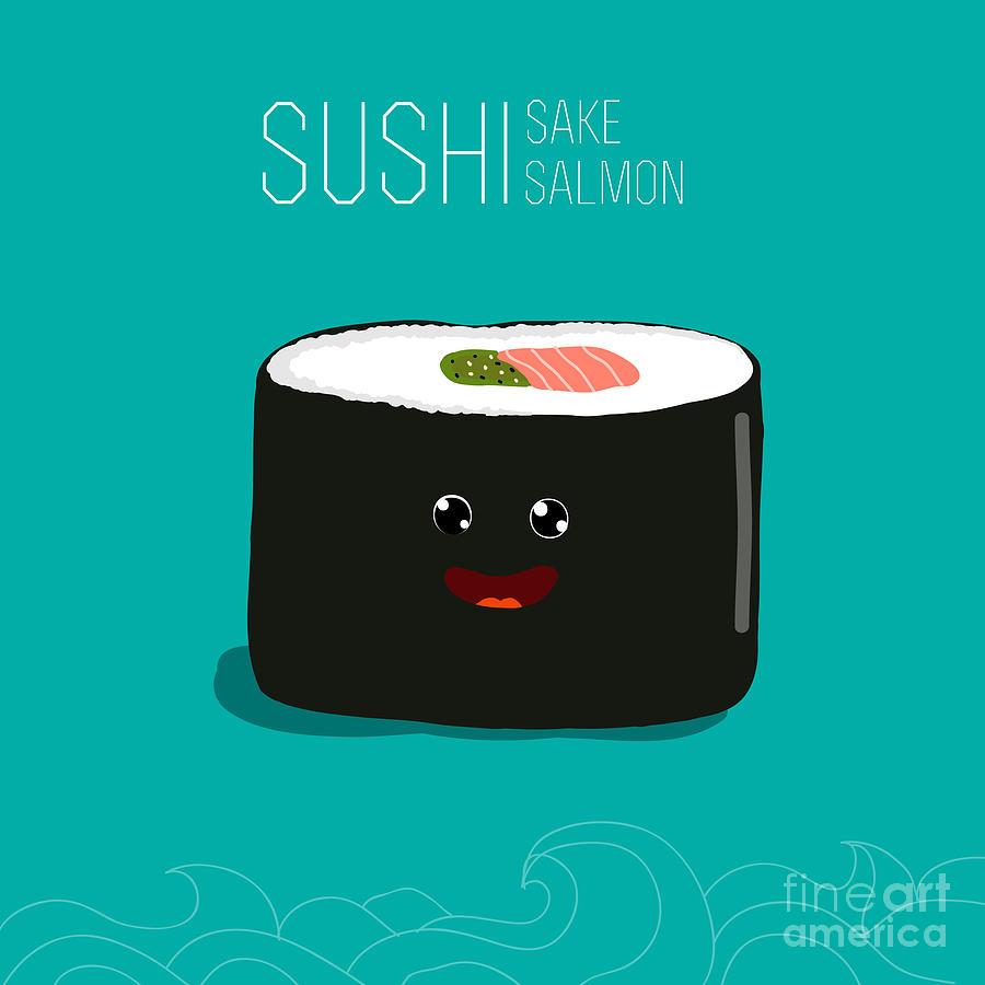 Symbol Digital Art - Japanese Food - Sushi. Vector Cartoon by Wild0wild