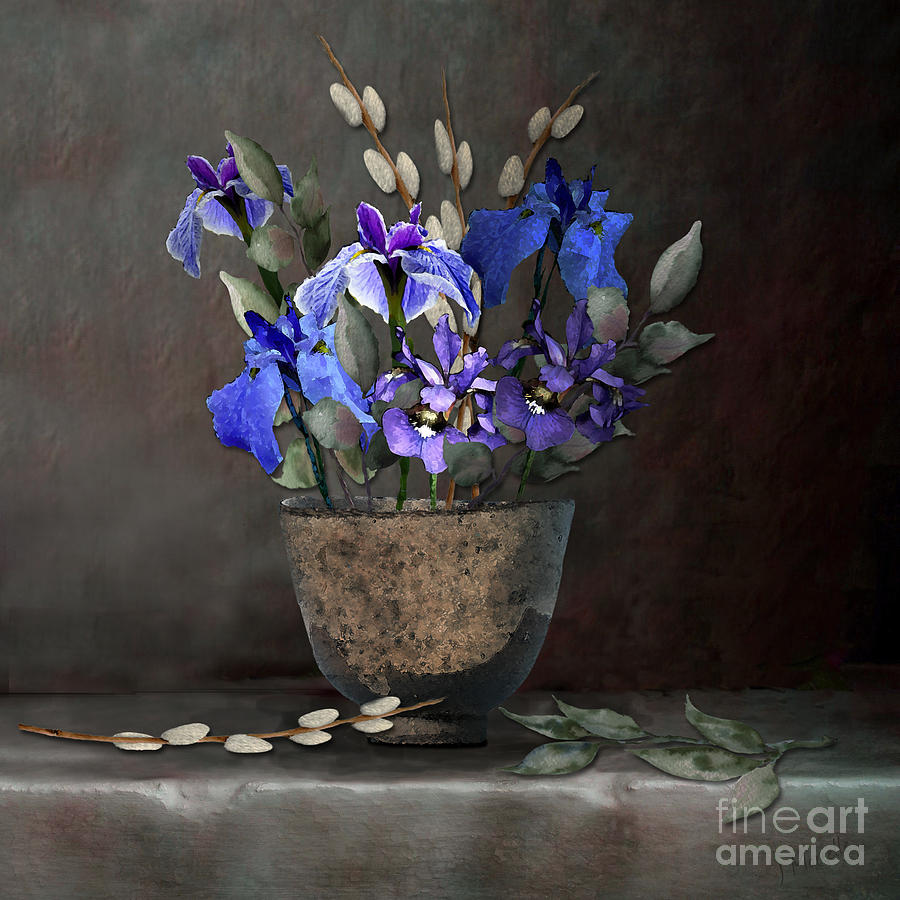 Japanese Iris and Willows by J Marielle