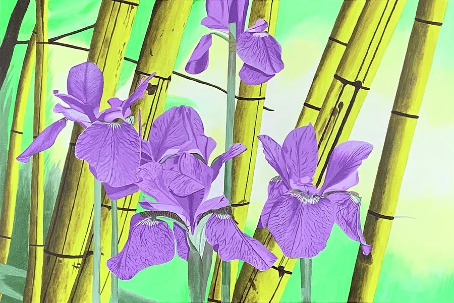 Japanese Iris With Bamboo Painting by Gord Russell on purple silver plant, purple blossom plant, purple eucalyptus plant, purple moss plant, purple red plant, purple rosemary plant, purple blue plant, purple holly plant, purple tulip plant, purple peppermint plant, purple parasol plant, purple jade plant, purple vanilla plant, purple opium plant, purple citronella plant, purple kiwi plant, purple pagoda plant, purple juniper plant, purple dandelion plant, purple freesia plant,