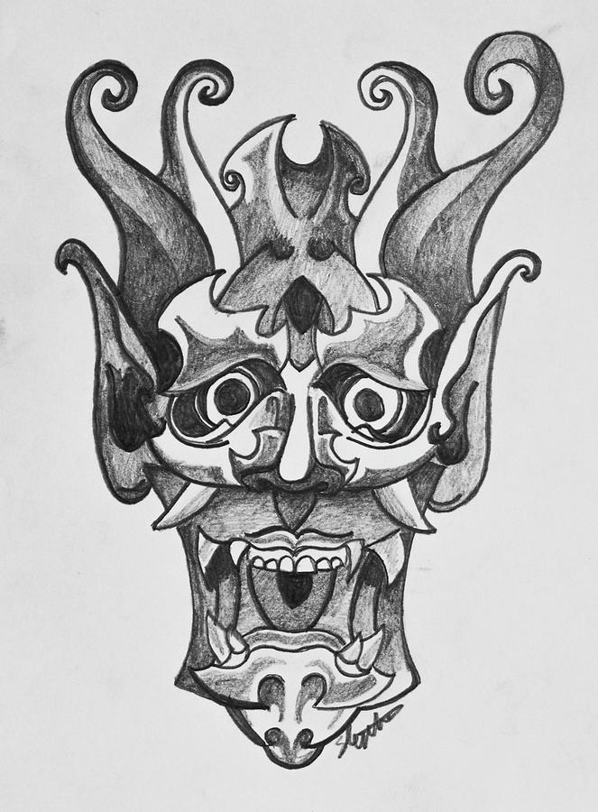 ec261458cd08c Japanese Mask Drawing by Stephen Humphries