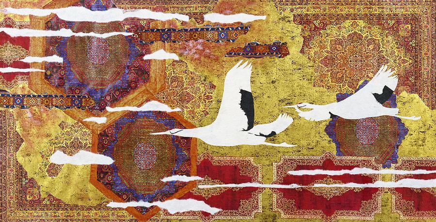 Crane Mixed Media - Japanese Modern Interior Art #131 by ArtMarketJapan
