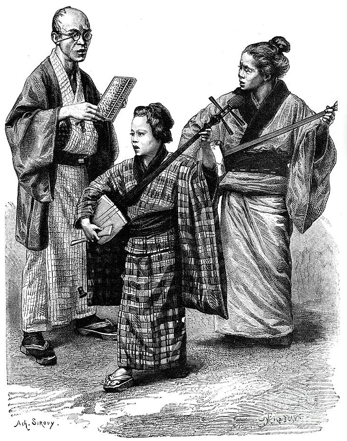 Japanese Musicians And A Dealer, 1895 Drawing by Print Collector
