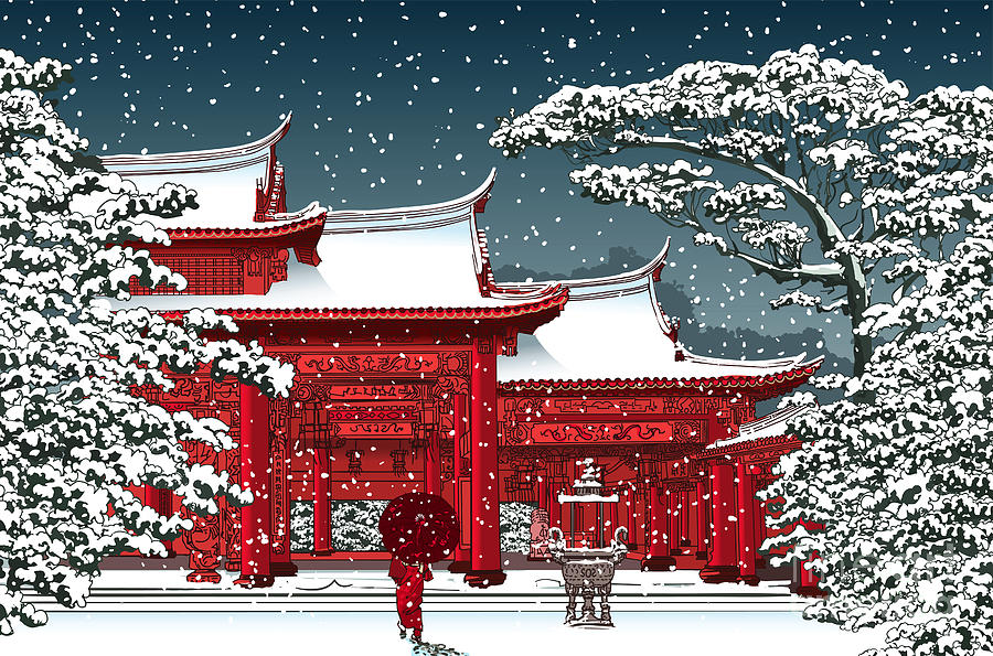 Harmony Digital Art - Japanese Or Chinese Temple Under Snow - by Isaxar