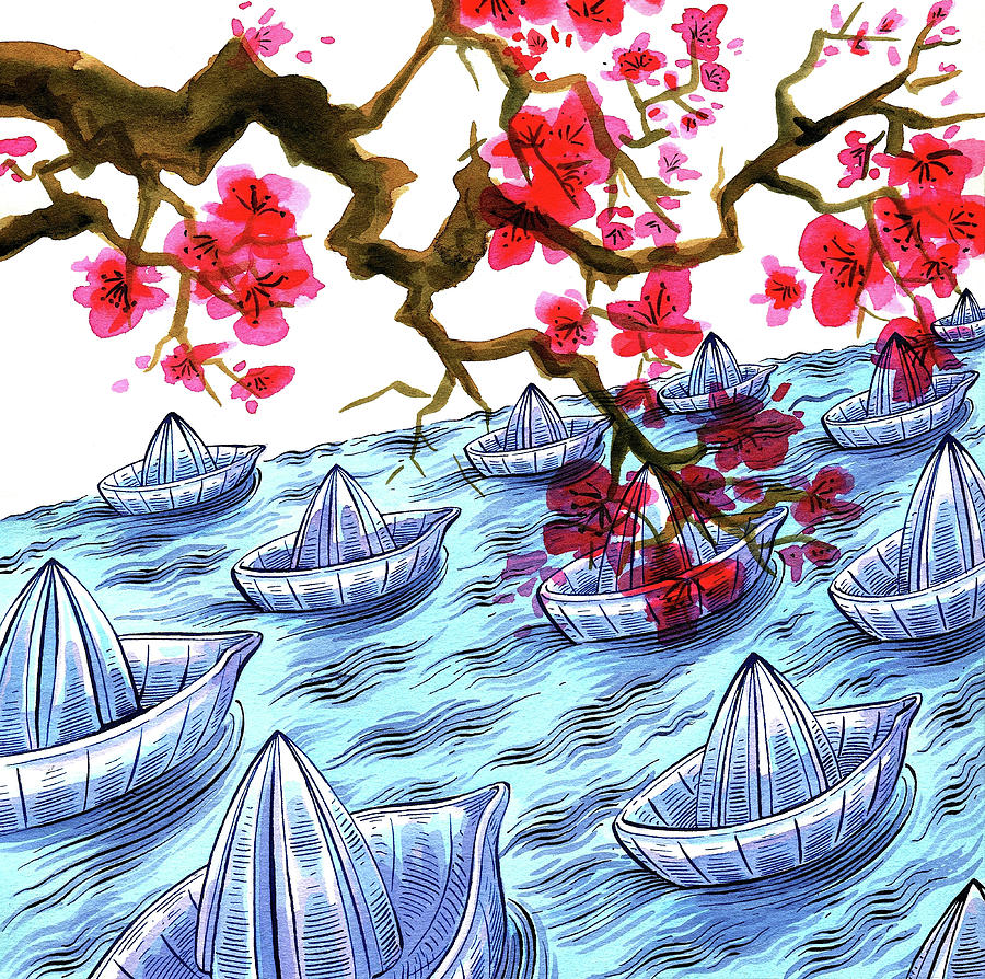 Japanese Origami Boats And Cherry Digital Art by Foto Bureau Nz Limited