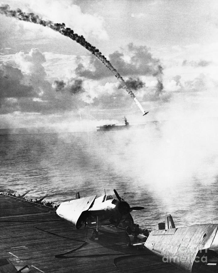 Japanese Plane Crashing In The Pacific Photograph by Bettmann