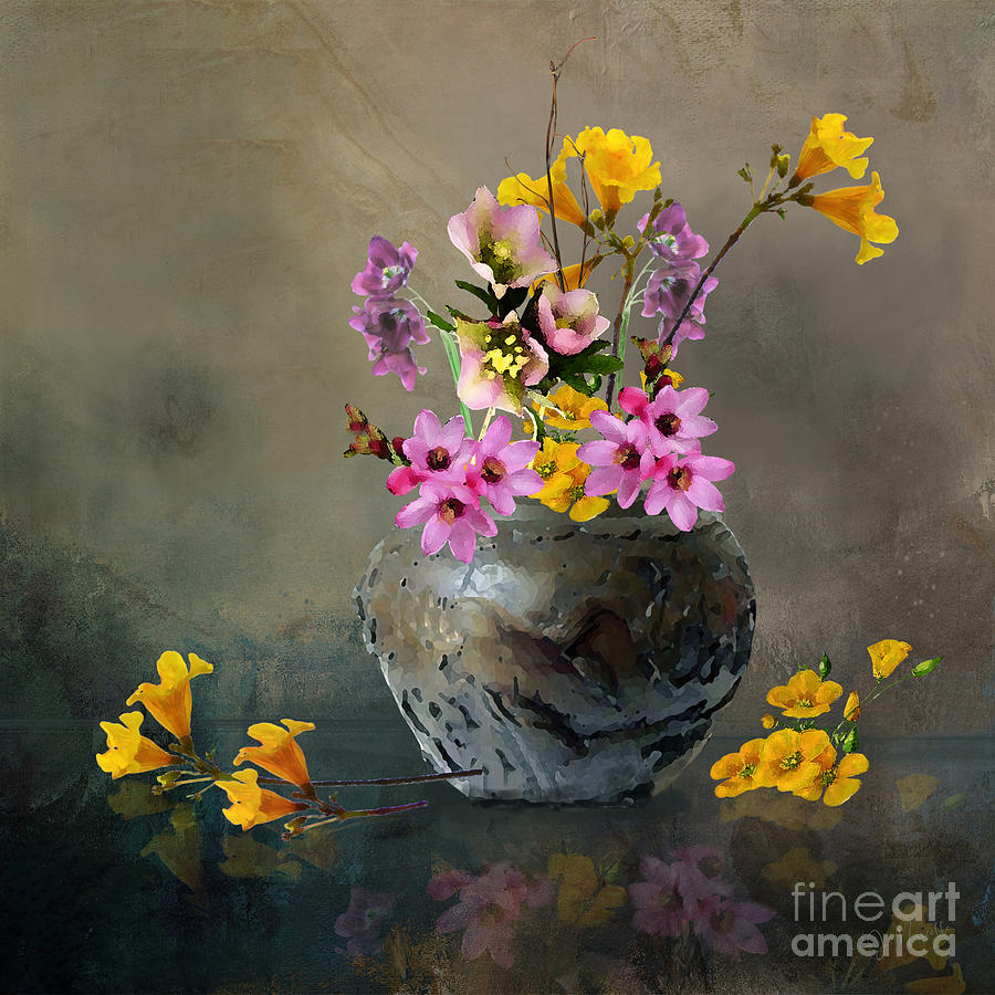 Japanese Stone Vase and Flowers by J Marielle