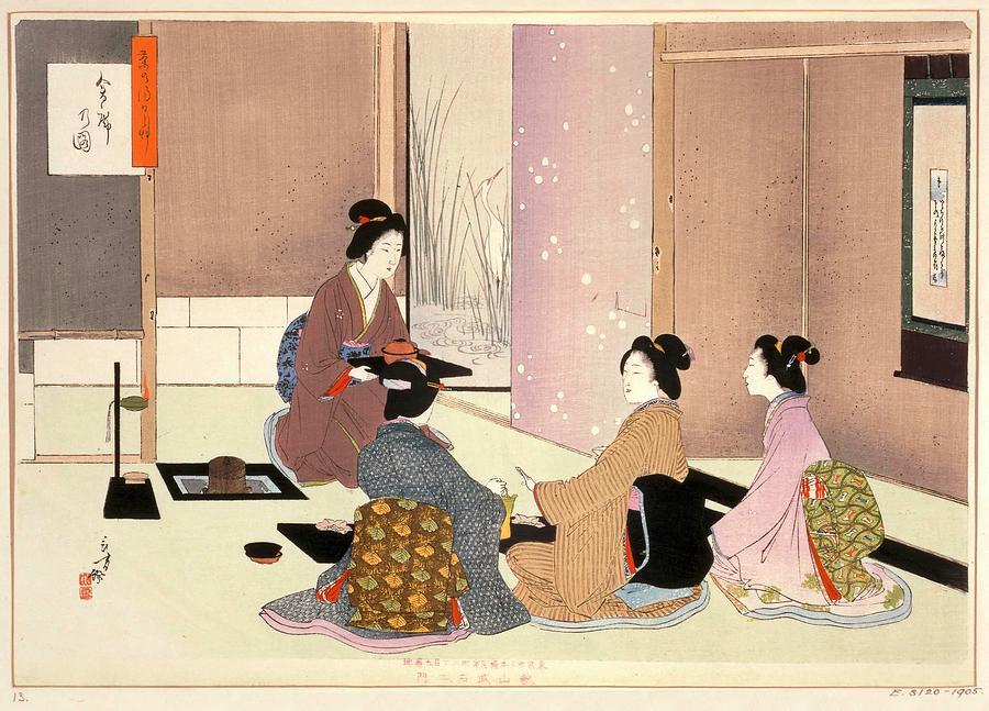 Japanese Tea Ceremony 19th Century Drawing By Mizuno Toshikata 1866 1908