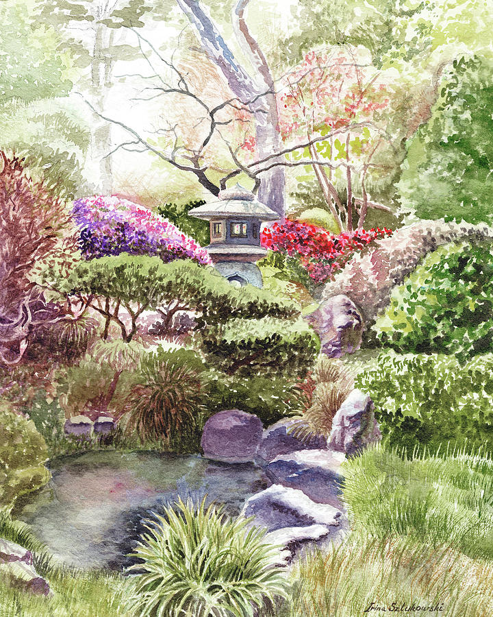 Japanese Painting - Japanese Tea Garden San Francisco Golden Gate Park by Irina Sztukowski