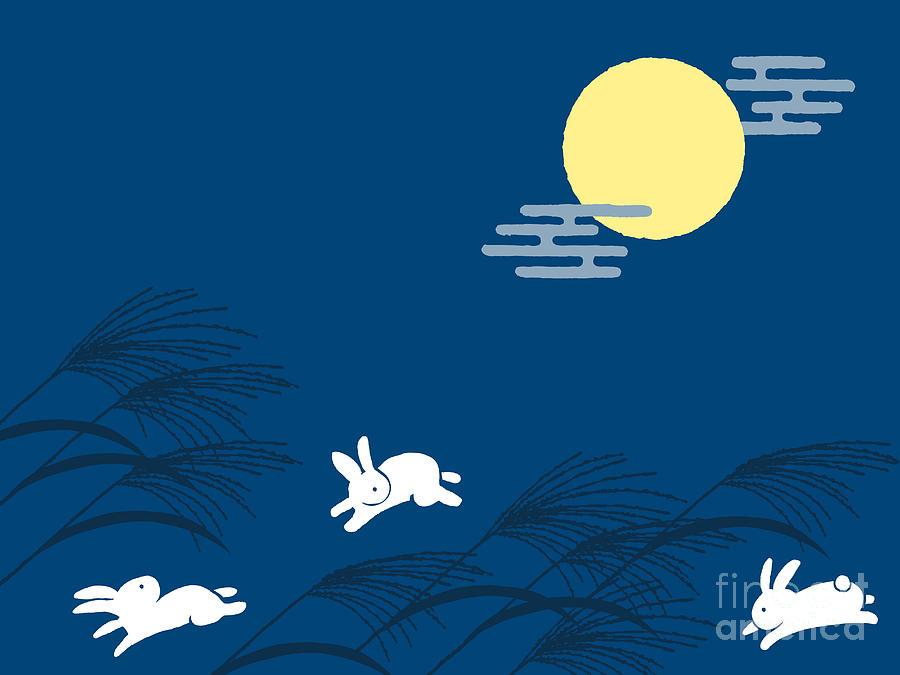 Moonlight Digital Art - Japanese Traditional Full Moon Night by Perori