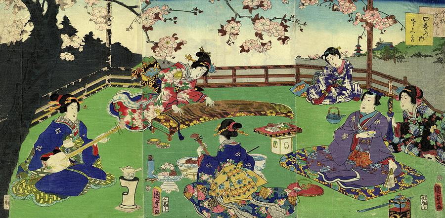 Japanese Triptych Woodblock Cherry Digital Art by Bernardallum