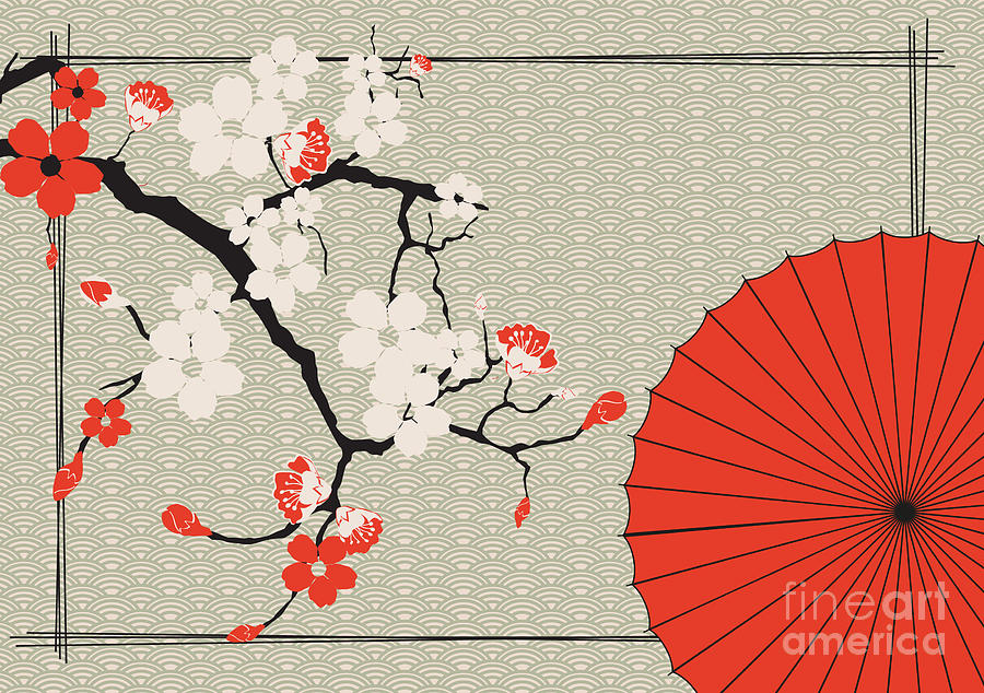 Cherry Digital Art - Japanese Umbrella And Japanese Cherry - by Artbox