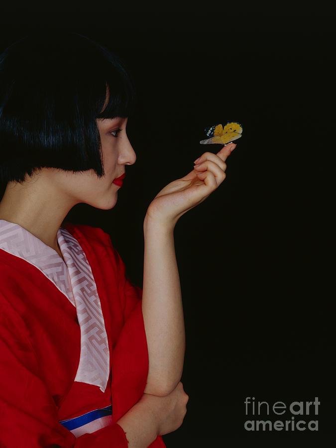 Japanese Woman Wearing Kimono, Side View Photograph by Tadashi Miwa