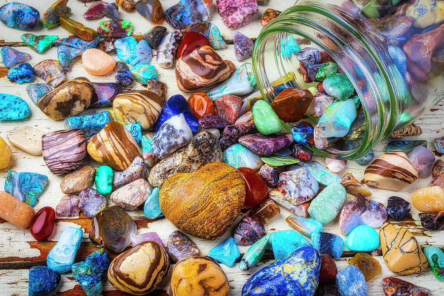 Stone Photograph - Jar Of Rocks And Heart Stone by Garry Gay