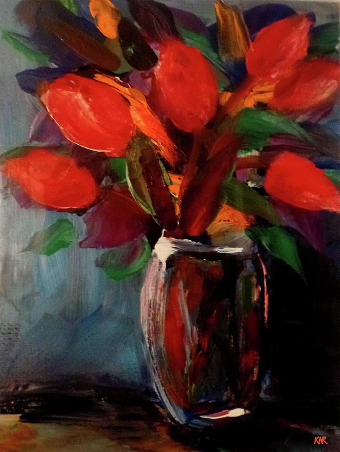 Still Life Painting - Jar of Tulips by Art by Kar