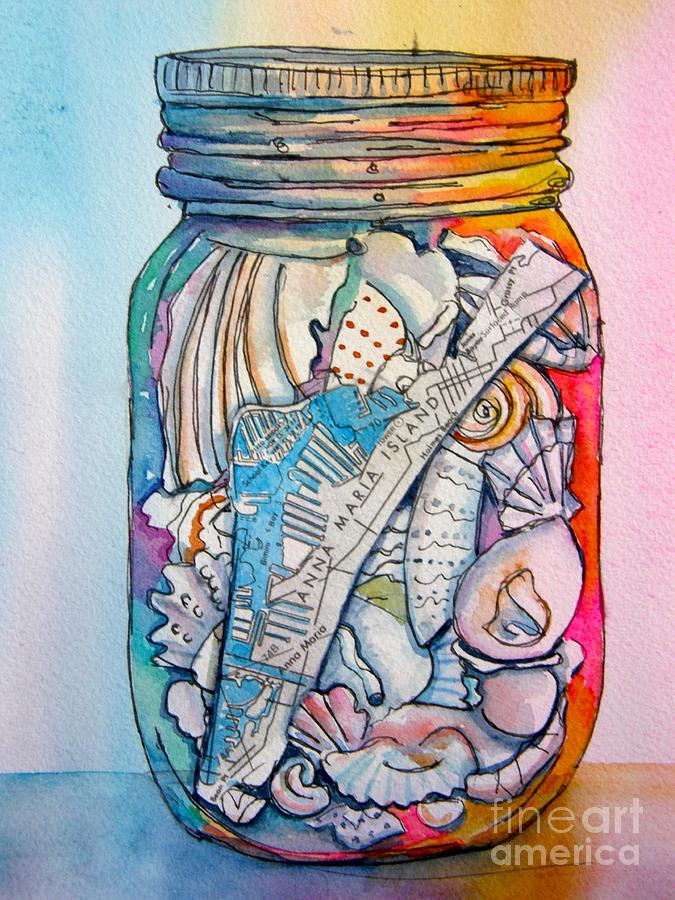 Jar Painting - Jar With W/ Map Ami by Midge Pippel