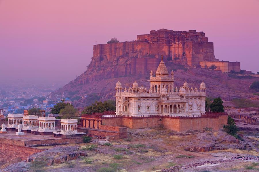 Dawn Photograph - Jaswant Thada & Meherangarh Fort At by Douglas Pearson