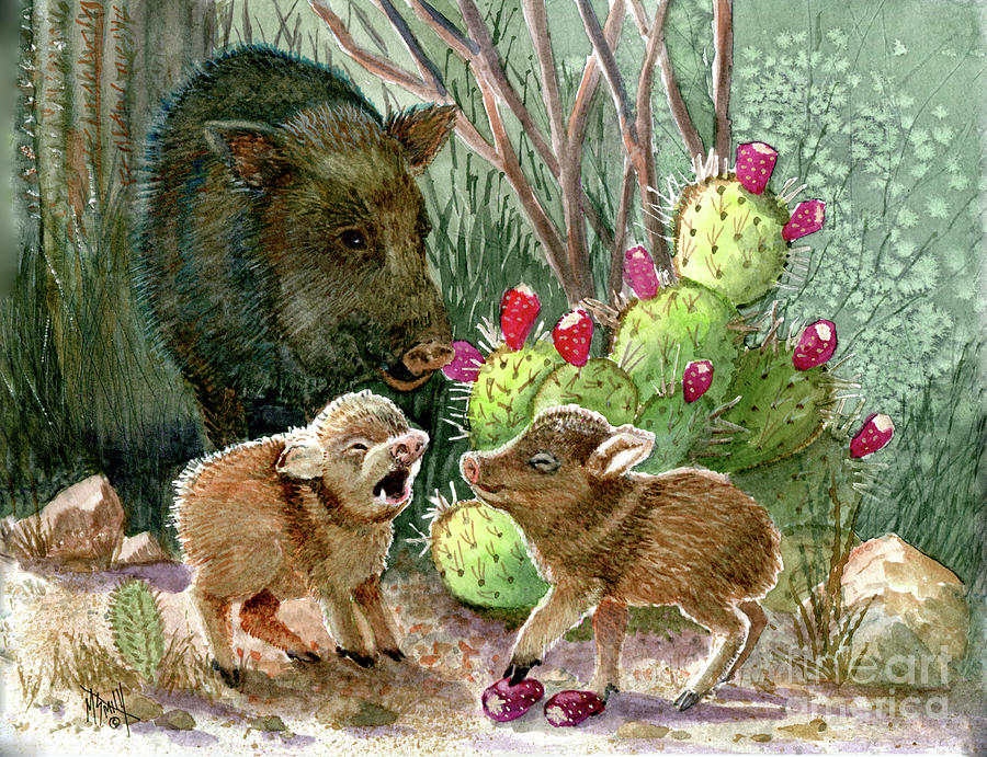 Javelina Babies and Mom by Marilyn Smith