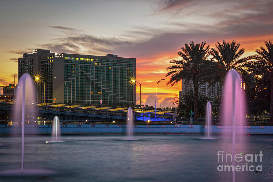JAX Cityscape Sunrise At The Fountains by Dbhayes
