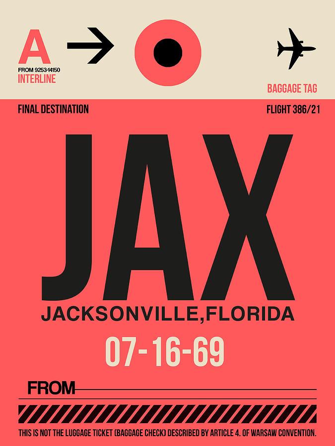 Jacksonville Digital Art - Jax Jacksonville Luggage Tag I by Naxart Studio