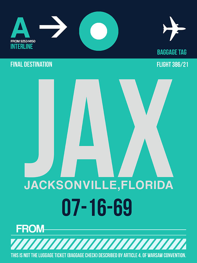 Jacksonville Digital Art - Jax Jacksonville Luggage Tag II by Naxart Studio