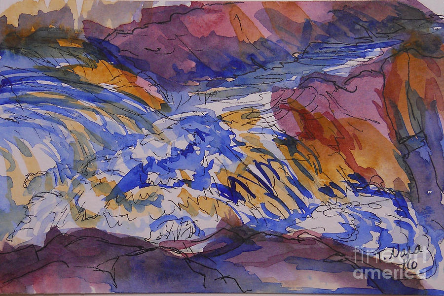 Waterfall Painting - Jay Cooke Favorite Spot In Purple And Tan by Tammy Nara