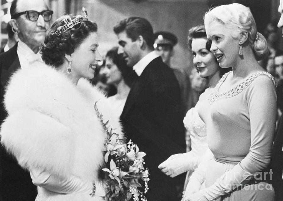 Jayne Mansfield Meeting Queen Elizabeth Photograph by Bettmann